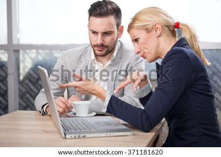 business partners discussing on new projects - stock photo