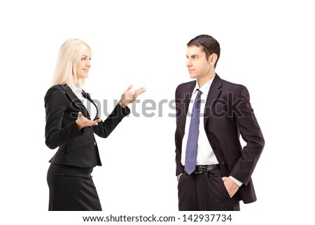 Business partners having a conversation, isolated on white background - stock photo
