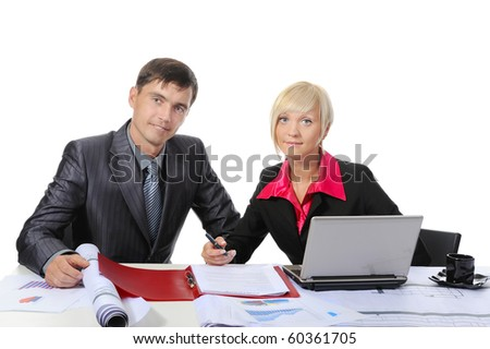 Business partners in the office. Isolated on white background - stock photo