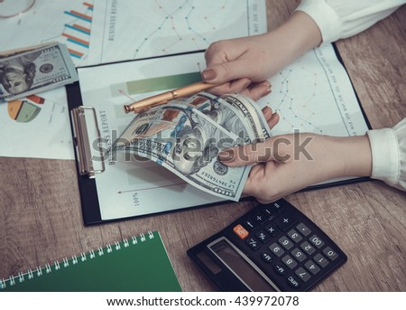 business partners looking at business graph. toned image - stock photo