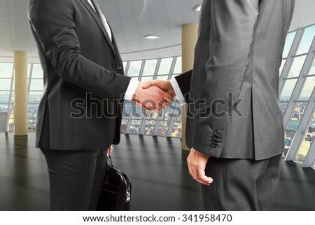 Business partners shake hands in empty room 3D Render - stock photo