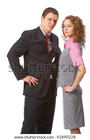 Business partners stand isolated over white background