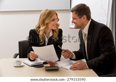 Business partners sweet deal. Businessman invites a colleague on the project.  - stock photo