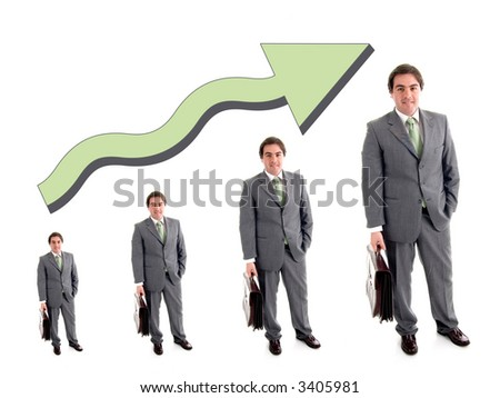business partners with a growth and success chart over a white background - stock photo