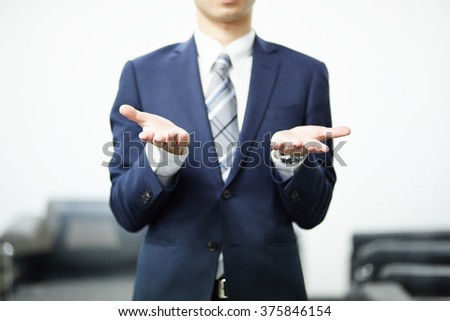 Business partners with a successful confident man and woman - stock photo