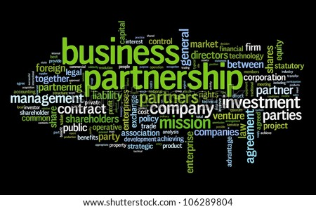 Business partnership concept in tag cloud on black - stock photo