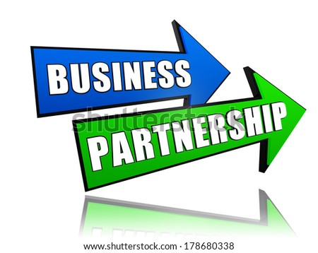 business partnership - text in 3d arrows, teamwork growth concept words - stock photo