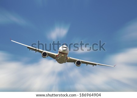 business passenger airplane in the air