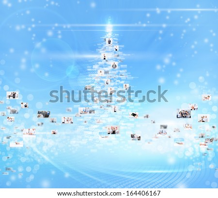 business people abstract blue background, concept of new year christmas tree businesspeople International social communication