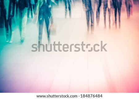 business people activity at big city abstract background. Blur motion. - stock photo