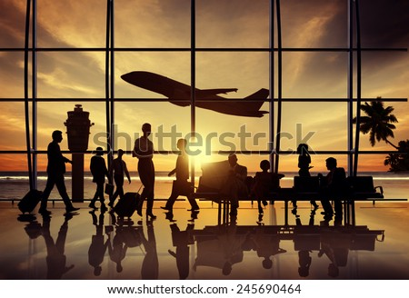 Business People Airport Beach Waiting Flight Corporate Concept - stock photo
