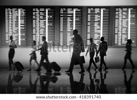 Business People Airport Terminal Travel Departure Concept - stock photo