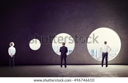 business people and different windows size