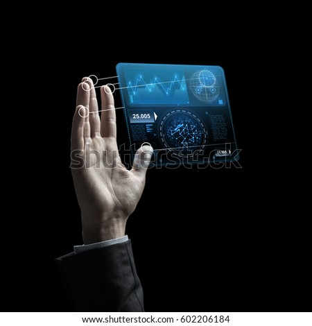 business, people and future technology concept - raised businessman hand with charts on virtual screen over black background