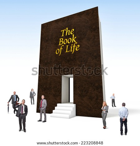 business people and huge 3d book of life - stock photo