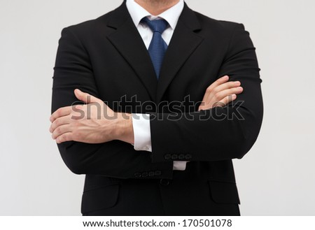 business people and office concept - close up of buisnessman in suit and tie - stock photo