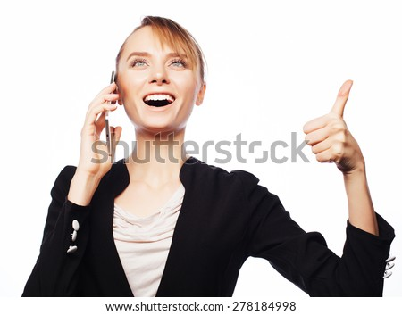 Business, people and office concept: young business woman with mobile phone. Positive emotion.Isolated on white. - stock photo