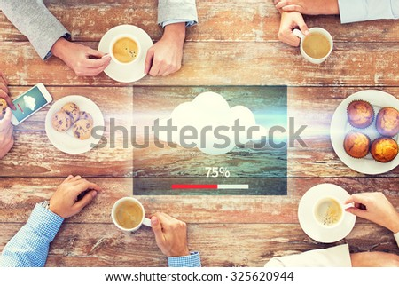 business, people and team work concept - close up of creative team meeting and drinking coffee during lunch in office - stock photo