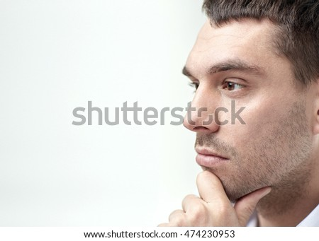 business, people and work concept - close up of businessman male face