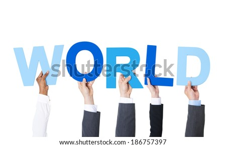 Business People Arms Raised and Holding the Word World