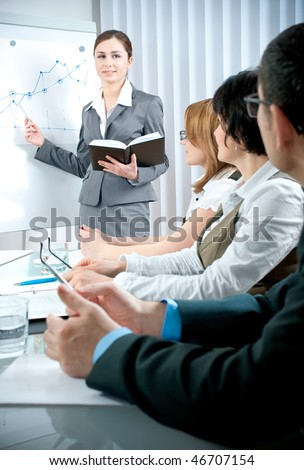 Business people at business meeting - stock photo