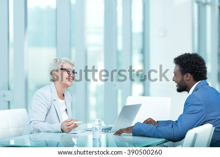 Business people at interview in office  - stock photo