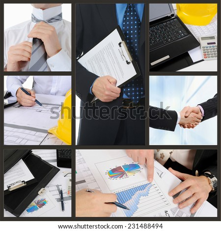 Business People at work in the office. collage - stock photo