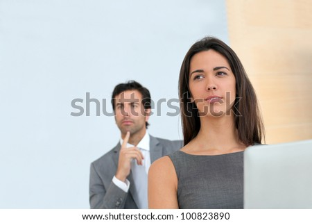 Business people attending conference - stock photo