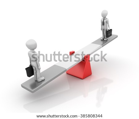 Business People Balancing on a Seesaw - Balance Concept - High Quality 3D Render   - stock photo