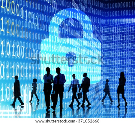 Business People Binary Code Lock Security Concept - stock photo