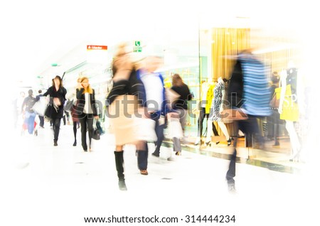 Business people blur. People walking in rush hours. Business and modern life concept - stock photo