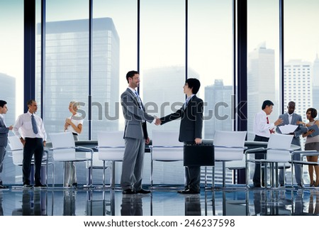 Business People Board Room Meeting Handshake Communication Concept