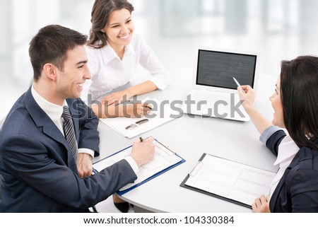 Business people. Business team working on their business project together at office. - stock photo