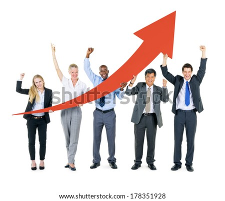 Business People Cheering for Growth with Arrow - stock photo