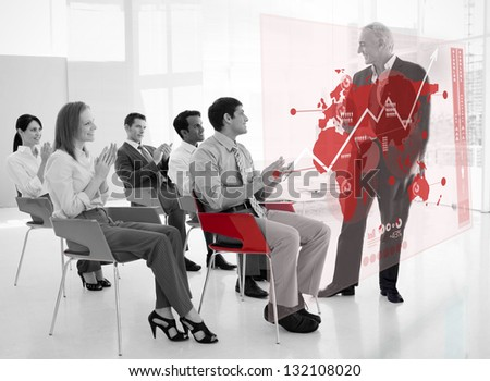 Business people clapping stakeholder standing in front of red map futuristic interface in black and white - stock photo