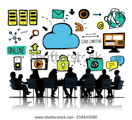 Business People Cloud Computing Brainstorming Meeting Concept - stock photo