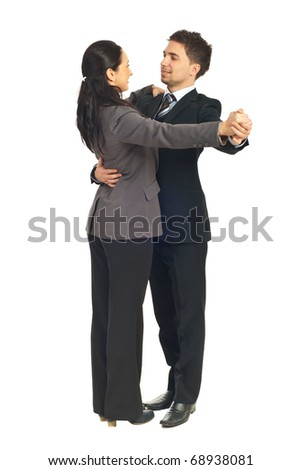 Business people colleagues dancing waltz isolated on white background - stock photo