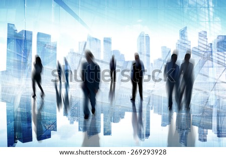 Business People Commuter Cityscape Busy City Life Lifestyle - stock photo
