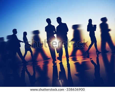 Business People Commuter Corporate Rush Hour Concept - stock photo