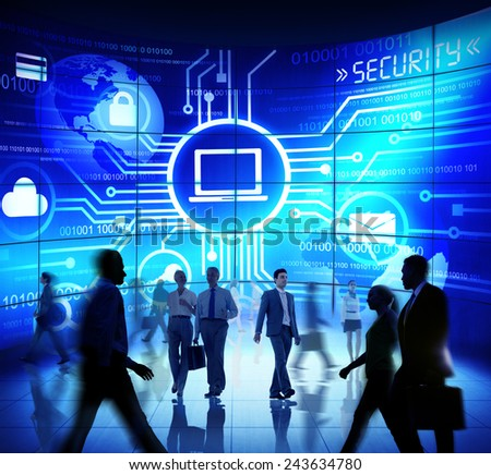 Business People Commuter Technology Security Computer Corporate Concept - stock photo