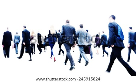 Business People Commuter Walking Rush Hour Corporate Concept - stock photo