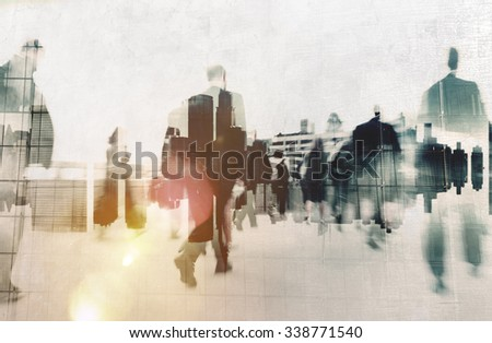 Business People Commuter Walking Travel Crowd Concept - stock photo