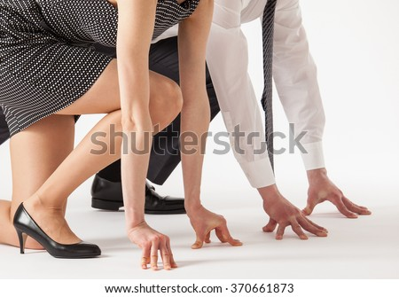Business people competing, white background