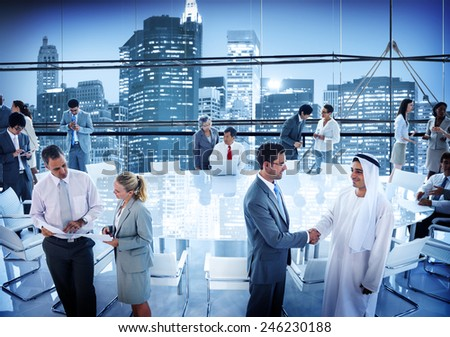 Business People Conference Board Room Handshake Global Concept - stock photo