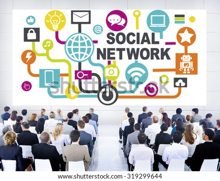 Business People Conference Seminar Communication Social Network Concept - stock photo