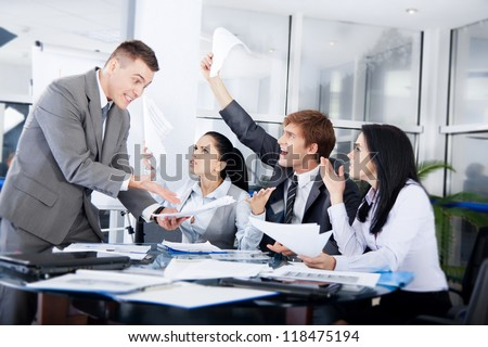 business people conflict problem working in team together, businessmen and women serious argument negative emotion businesspeople meeting at desk office - stock photo