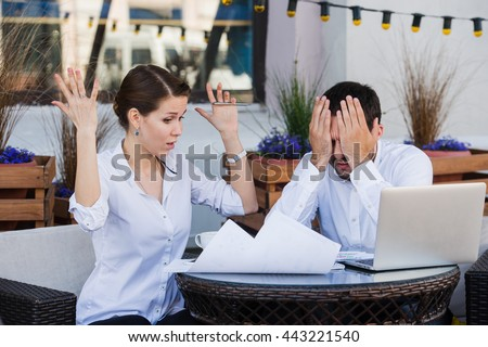 business people conflict working problem, angry boss argue scream to colleague businessmen and women serious argument negative emotion discussing report meeting at outdoors cafe during the lunch break - stock photo