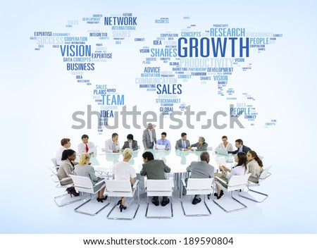 Business People Connected around the World - stock photo