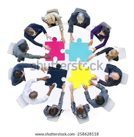 Business People Connection Corporate Jigsaw Puzzle Concept - stock photo