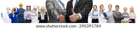 business, people, cooperation, success and gesture concept - businessman and businesswoman showing thumbs up over representatives of different professions background - stock photo
